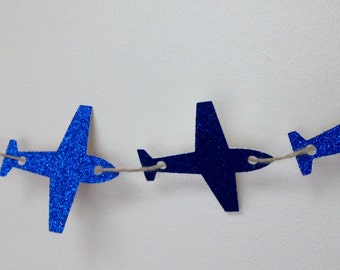 Aeroplane Glitter Banner - garland, bunting, birthday, engagement, party decoration, bon voyage, plane