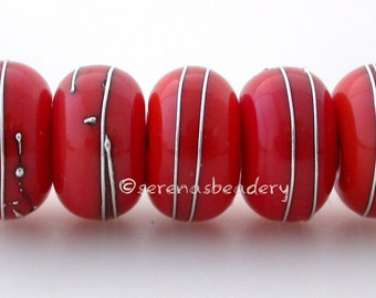 FIRE ORANGE Coral with Fine Silver Wraps - Handmade Lampwork  Glass Bead Set - TANERES - 11, 12, or 13 mm