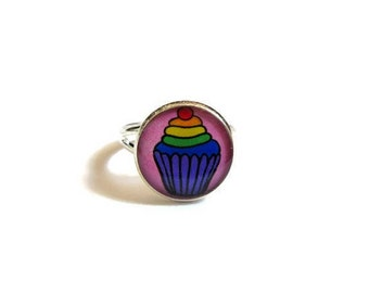 KIDS RING - cupcake ring - cake jewelry - rainbow - Cute Cupcake Ring - Candy Kids Girl Jewelry - Children Gift - Kawaii Birthday Favor Pink