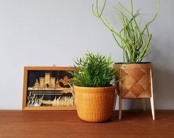 Vintage bamboo artwork | framed art | Asian artwork | landscape | boho decor | Bohemian decor | Collage |