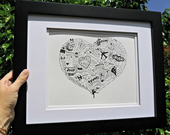 Personalized Artwork Memory Illustrations 8 x 10