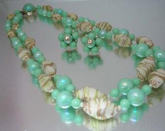1950's Necklace & Earrings Set Corolene Coraline Beads Turquoise Iridescent Hong Kong