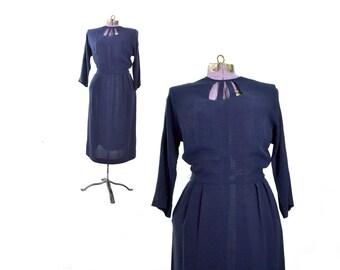 1940s Dress, 40s Dress, Large Vintage Dress, Navy Blue Dress, Vintage Clothing, Womens Dress, Large Dress, Cut out Dress