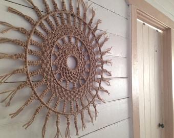 Round macrame wall hanging / wall decor / rope / fringing /jute
