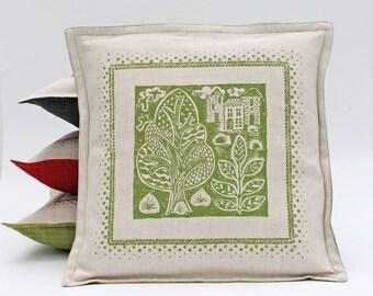 Green Linen Cushion Cover/Folk art/Screen Printed Pillow