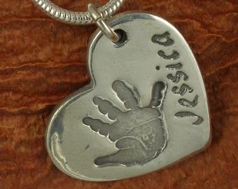 Silver heart handprintprint jewellery charm