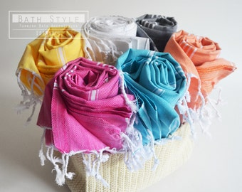 SALE 50 OFF / SET 6 / Turkish Beach Bath Towel / Classic Peshtemal / Warm Gray - White - Yellow - Pink - Orange - Blue