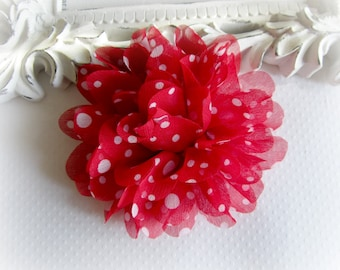 Red and White Polka Dot Flower. 1 PC. Red White Chiffon Flower. Chiffon Flower In Red Polka dot.