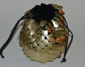Scalemail Dice Bag of Holding Knitted Dragonhide Extra Large Gold