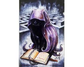 Destiny Kitten Magnet: Watercolour Sandman Black Cat