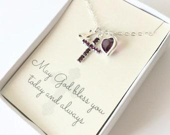 Crystal Cross Pendant - Cross Necklace - Amethyst - February - First Communion Gift - Gift for Goddaughter - Goddaughter Gift - N104