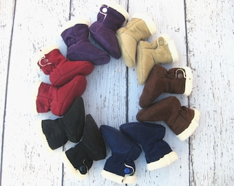 Sale Classic Corduroy Perfect Fit Baby Boots Organic Sherpa Lining All Fabric Soft Sole Baby Shoes / Made to Order