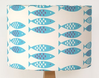 Blue Lampshade Newlyn Fish print Drum Lamp Light Shade