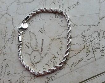 """Silver Bracelet, 925 Bracelet, Silver Plated Bracelet, Twisted Bracelet, Twisted Rope, Plain Bracelet, Strong Bracelet, 8"""" Bracelet, 8inch,"""
