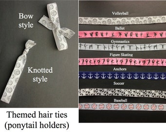 Themed elastic hair ties (ponytail holders) - bow or knotted - sets of 6 or 12 - great birthday party favors or stocking stuffers