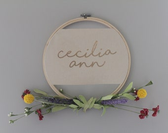 "10.5"" Custom Name Embroidery Hoop with Faux Flowers 