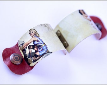 Vintage Pinup Girls Cuff with leather