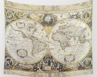 World Map Tapestry Wall hanging - antique map print, beautiful map, travel decor, gold, gray , wall decor atlas, den, bedroom, library