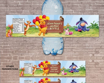 Personalized Winnie the Pooh Water Bottle Label /  Instant Download and Editable / Birthday Party / Pooh Party / Baby Shower / PRINTABLE