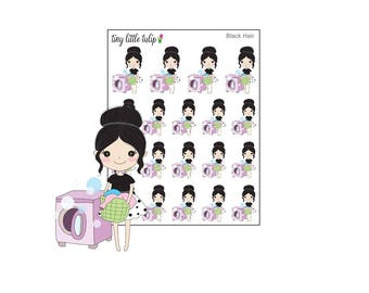Planner Stickers Doodle Girl Laundry/Laundry Day