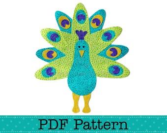 Peacock Applique Template, DIY, PDF Pattern by Angel Lea Designs, Instant Download Digital Pattern