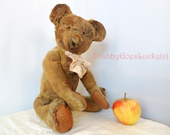 Antique English teddy bear 1930s, presumably made by Merrythought, 18 inch well - loved restored shabby chic mohair bear
