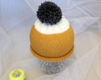 kitted baby child beanie hat mustard cream grey hand made baby shower hospital hat photo prop all sizes gift cotton yarn