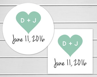 Initials in Heart Wedding Stickers, Wedding Favor Stickers, Envelope Seals, Calendar Stickers, Save The Date Stickers (#091)