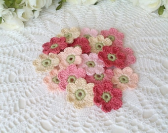 20 Crochet Flowers in Shabby Chic Colors -  1.6 inch or 4 cm