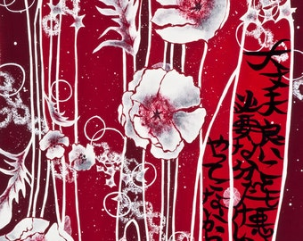 """Neo-Japonism Art, japanese calligraphy, red white flowers, original poem, Limited Edition Fine Art Print A4 8,5x11"""""""