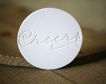 Letterpress Coasters - Cheers coasters