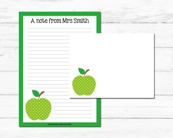 Stationery Set - green apple - teacher - personalized - letter writing
