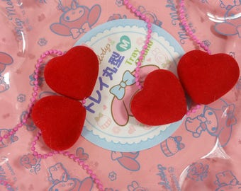 FUZZY red pair of LOVE HEARTS chain necklace