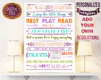 Motivational poster as a Christmas gift or New years gift with personalized new years resolution list - Printable file