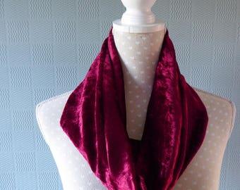 Maroon velvet snood, wine crushed velvet loop scarf, raspberry velvet cowl