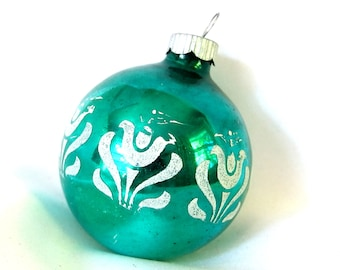 Green Shiny Brite Christmas Ornament Stenciled with White Tulips