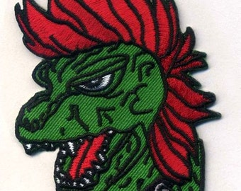 PUNK-ZILLA Punk Godzilla Embroidered Patch, Biker, Horror, Vest, Morale Patch