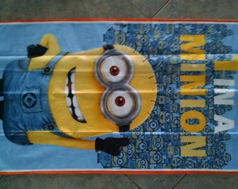 """1 in A Minion Minions Minions Wall Hanging 22"""" x 40"""" (backed in goldenrod yellow cotton fabric) Clearance Sale 34% off *"""