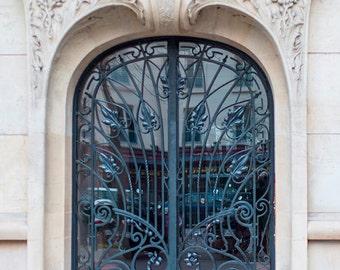 Paris Architecture Photography - Art Nouveau Iron Door, Fine Art Travel Print, Large Wall Art, French Home Decor