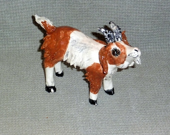 Get Your Goat handmade in US  from a lump of clay sculpture sold by Out Sider artist
