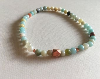 Amazonite Bracelet-Multi-colored Bracelet-Amazonite Stretch Bracelet-Crystal Healing Bracelet-Yoga Jewelry