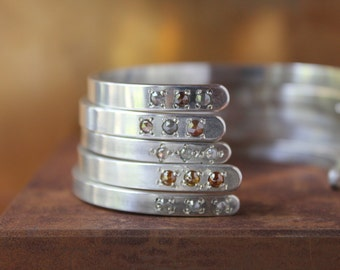 One Sterling silver cuff bracelet with diamonds