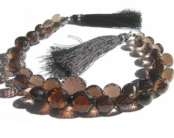 1/2 Strand - Finest Quality Smoky Quartz Faceted Onion Briolettes Size 6 - 9mm approx