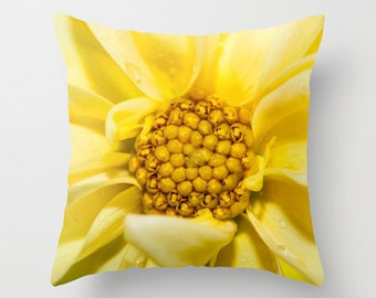 Flower Pillow Case, Handmade Yellow Dahlia Throw Cushion Covers, Floral Bed Accent, Victorian Decor, Gift for Gardener, Botanical Art Decor