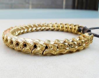 Solid Bronze Snake Vertebrae Bracelet / Free US Shipping
