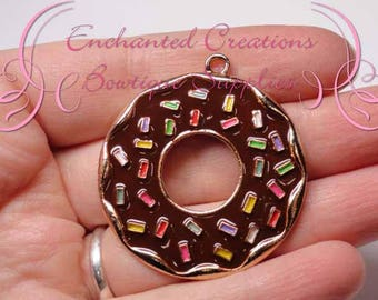 """2"""" Brown with Multicolor Sprinkles Sweet Treat Donut, Chunky Pendant, Bookmark, KeyChain, Bookmark, Zipper Pull, Planner Charm, Purse Charm"""