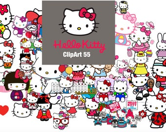 55 Hello Kitty ClipArt - Digital , PNG, image, picture,  oil painting, drawing,llustration, art , birthday,handicraft