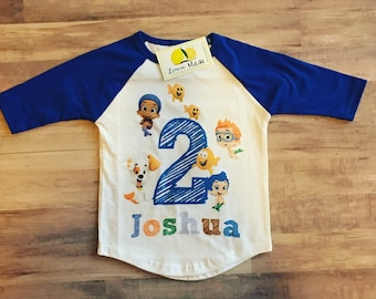 Bubble Guppies birthday shirt with name for boy or girl  blue raglan sleeves