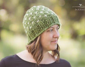 Women's Knit Hat, Toddler Beanie, Hats for Kids, Green Toque, Baby Winter Hat, Fair Isle Hat, Pom Hat, Knit Crochet Hat, Newborn Beanie
