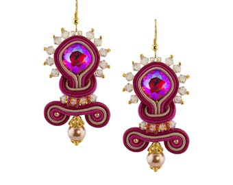 Earrings with Swarovski bicone-Fuchsia-Central and luxury Italian Soutache-golden thread